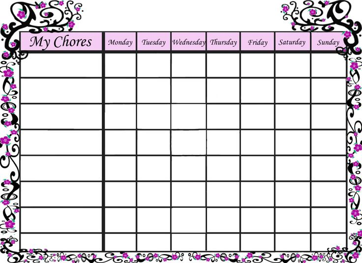 Chore charts, Free printable chore charts and Charts on Pinterest