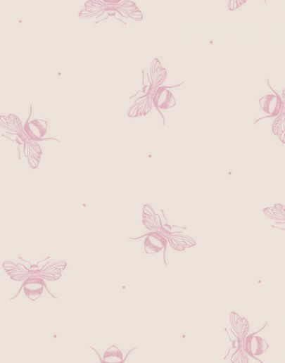 Peony Sage - Busy Bee Wallpaper Blush on Ivory