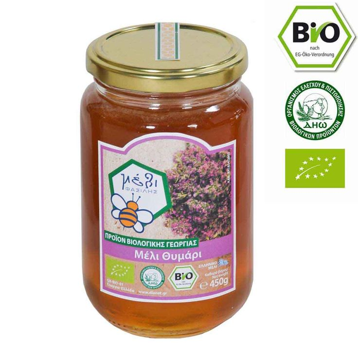 "Organic Thyme Honey 450gr from mount Parnon in SE Peloponissos The organic Thyme Honey ""FASILIS"" is collected in the thyme regions of the Southeastern Peloponnese at an altitude ranging from 300m – 1300m from early June until late July.  The region of Mount Parnon and the gorge of the Monastery of Elona, are included in the Network Natura 2000. This is a European Ecological Network of areas that host natural habitats and habitats of species which are important at European level."