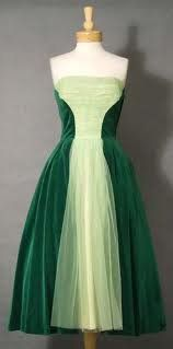 "Green velvet vintage cocktail dress. Reminds me of the song ""I am 16 going on 17"" from Sound of Music."
