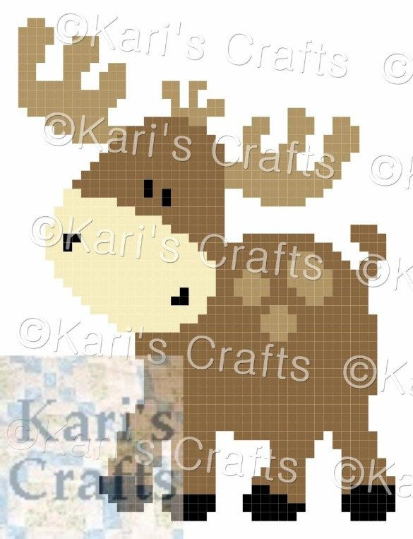 Baby Moose C2C Corner to Corner Afghan Baby Blanket or Pillow PDF Pattern Graph + Written Instructions-Instant Download by KarisCrafts on Etsy