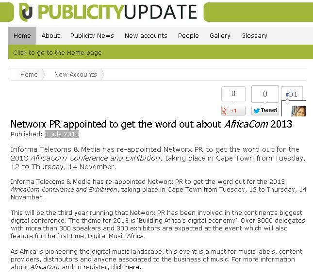 #NetworxPR appointed to get the word out about #AfricaCom 2013