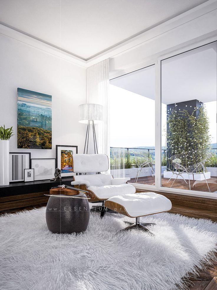 interior, architecture, design, modern, light, white, violin, carpet 3d, graphic, cgi, rendering
