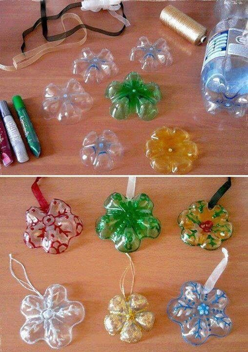 Homemade ornaments Pop, water, juice bottle bottoms with glue and glitter
