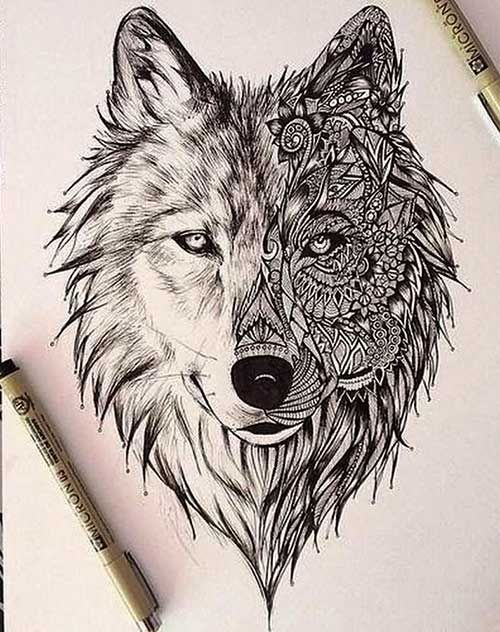 geometric wolf tattoo design buscar con google - Tattoo Idea Designs