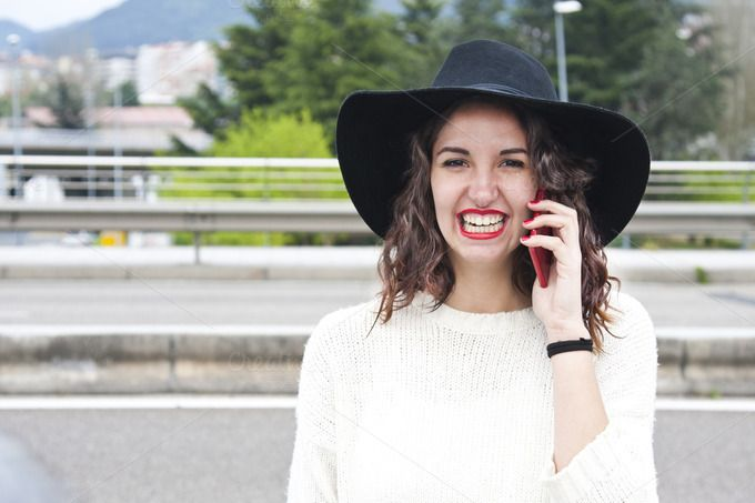 young woman talking on phone by pruden.alvarez on @creativemarket