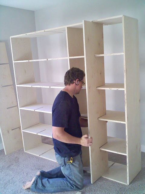 Great idea for how to build a large storage cubby bookshelf. Although it doesn't include step-by-step plans, I think I could figure it out from this picture.