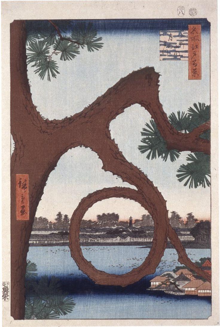 Woodblock. Rural landscape. Moon pine at Sannai. Water, buildings. Nishiki-e on paper.