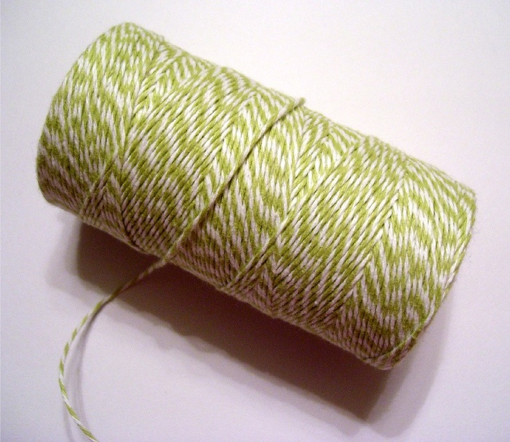 Lime Green Bakers Twine for Packaging Baked Goods,Gift Wrapping,Scrapbooking,Card Making - 240 yd. spool. $14.00, via Etsy.