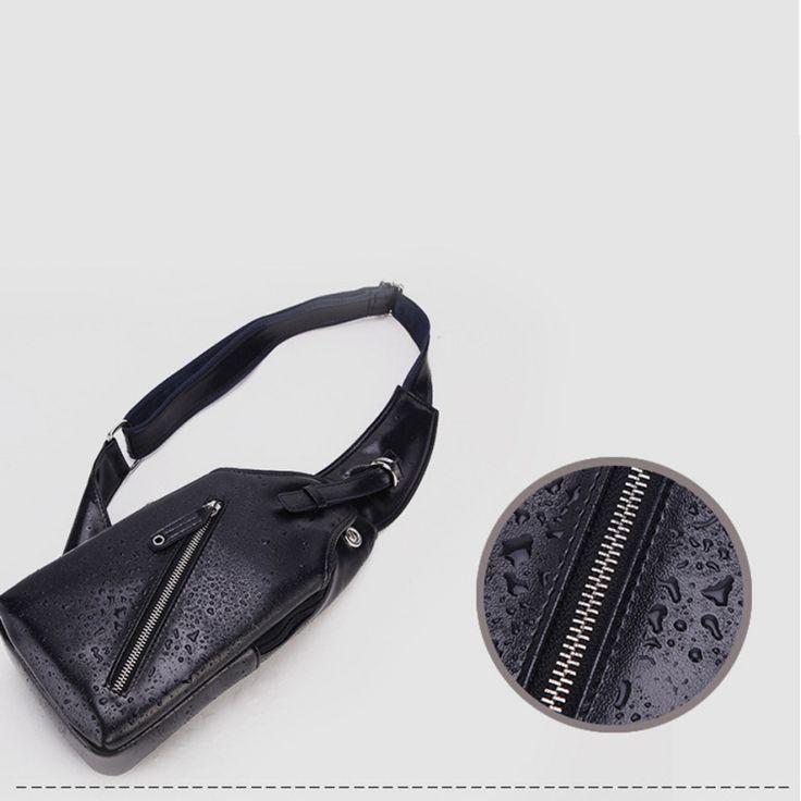Men's PU Leather Small Travel Sling Bag Chest Pack USB Charging Satchel Backpack Black