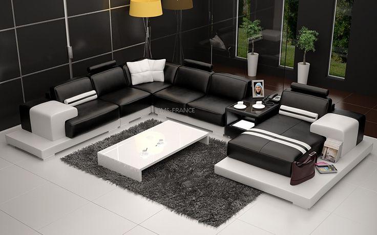 Salerne - Canapé en cuir panoramique 5/6 places noir et blanc chez http://www.items-france.com/destockage/espace%20salon-pas-cher-3588.html