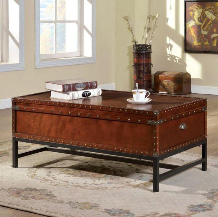 Milbank Industrial Coffee Table, Cherry Finish- FOA-CM4110C #casagear #homedecor #home #decor #furniture #coffee #table #cherry #FOA #Populous #Trends #TrendingNow #BestOfUS #freeshipping #USA