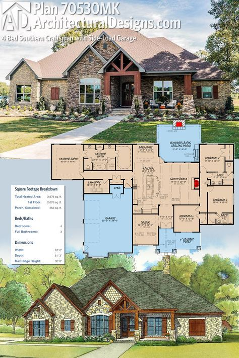 Plan 70530mk 4 bed southern craftsman with side load for Craftsman house plans with side entry garage
