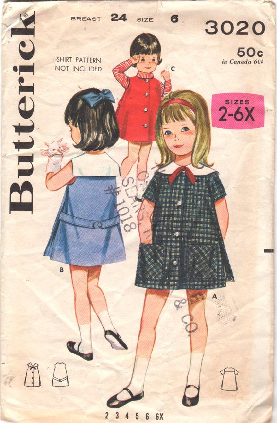 Butterick 3020 1960s Girls Side Pleated A Line Sailor Collar School Dress childs vintage sewing pattern by mbchills