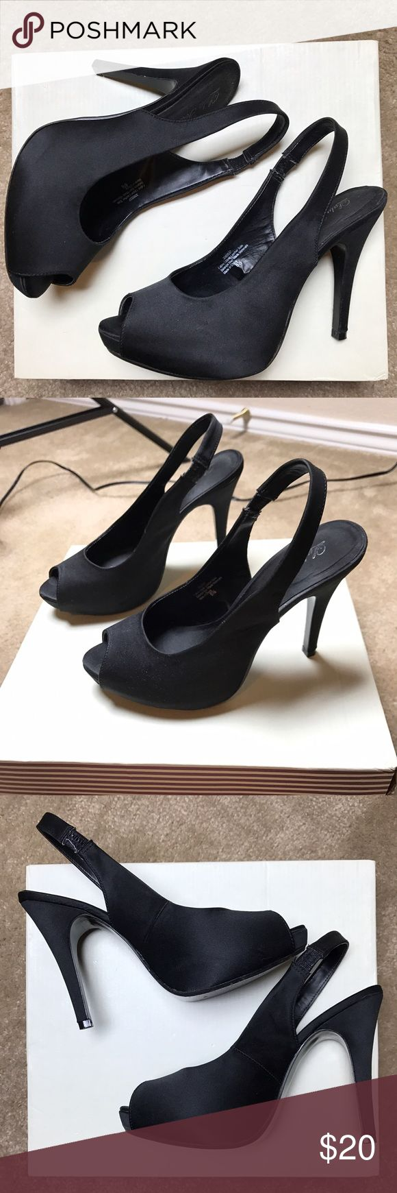 Peep toe heels Black peep two heels. Great condition,  worn twice. Women's size 6 1/2. They are NOT Steve Madden. I'm not sure of the brand. Size of heel 4 1/2 inches. Steve Madden Shoes Heels