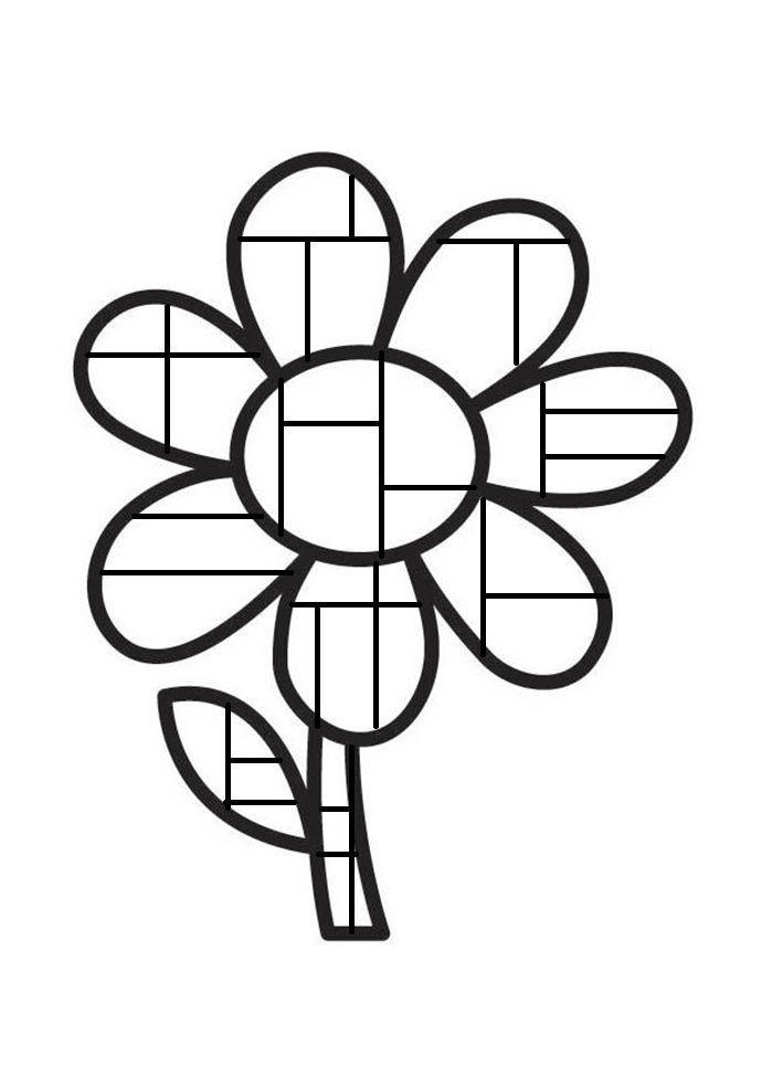 bloem kleurplaat mondriaan inkleuren met zwart geel