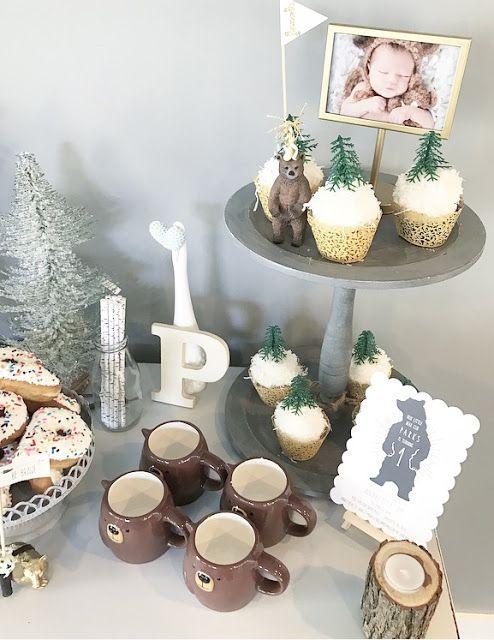 first birthday party, bear theme birthday, woodland themed birthday, baby boy birthday, winter birthday, naked cake, one year old, birthday decorations, oh joy! , target, birthday favors, sundae bar