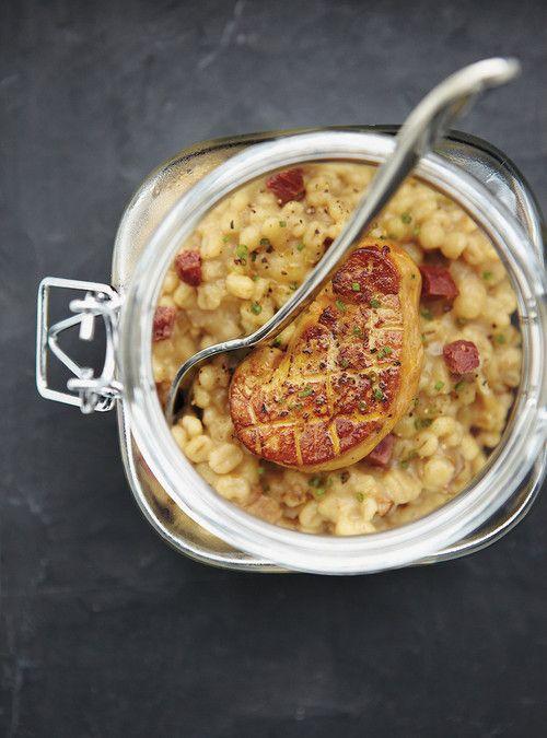 Verrines de risotto d'orge aux cèpes et au foie gras Recettes | Ricardo