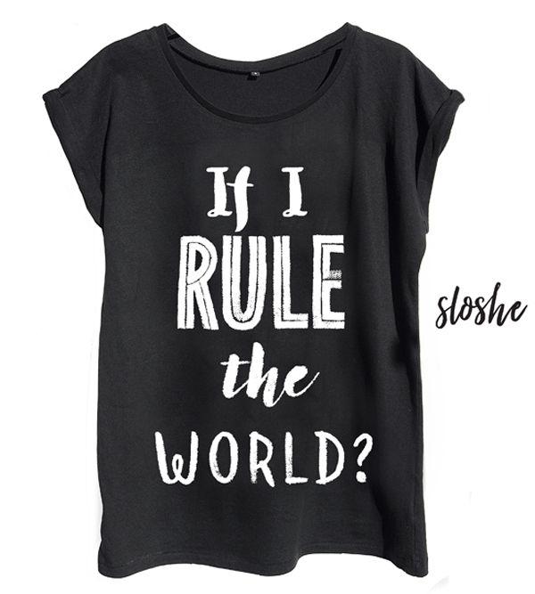 If I rule the world, czarny bawełniany t-shirt