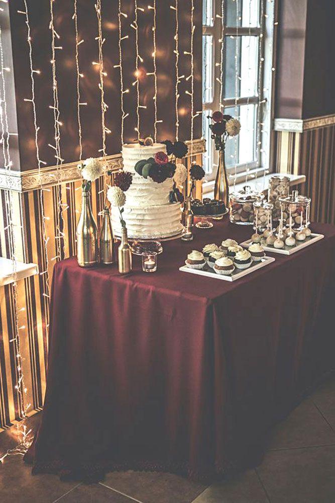 burgundy wedding table decor gold and marsala