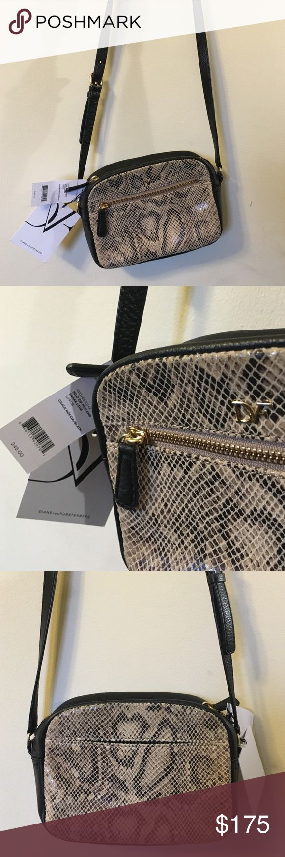 *SALE* Diane von Furstenberg DVF Bag Retail $245. NWT. This gorgeous bag is the DVF Milo Zip Crossbody Mini with chalk/black snake leather. It's lightweight and, in line with all DVF products, stylish and trendy. Reasonable offers welcome. Happy Poshing! Diane von Furstenberg Bags Crossbody Bags