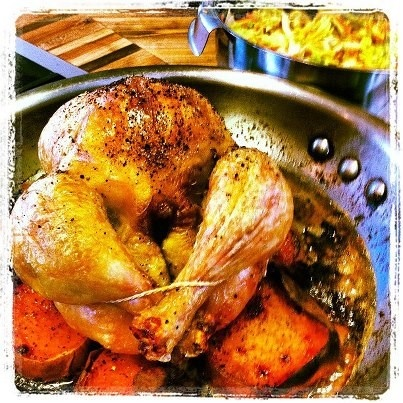 Chicken roasted on a bed of sweet potatoes> there's a sherry gravy in ...
