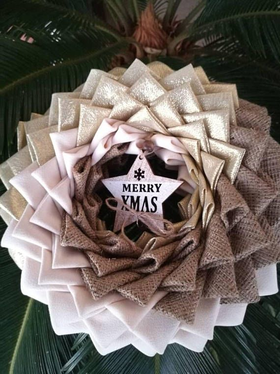 Do you love rustic decor? Look no further!!! Decorate your front door with this beautiful rustic looking decor wreath in wonderful colours and burlap. You can use it outdoors as well as indoors. This wreath was made by pinning folded fabric on a Styrofoam wreath shape. It was
