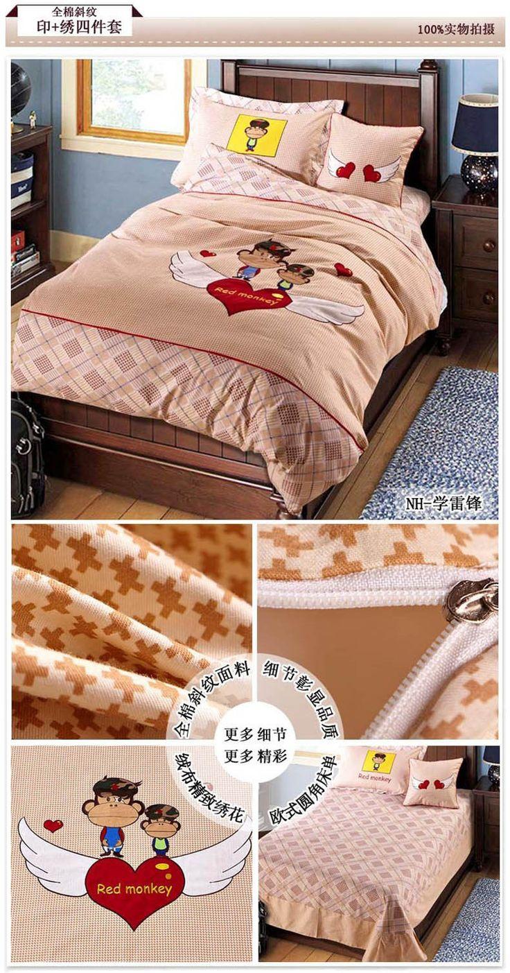 High Grade Cotton Kids Bedding Set Embroidered Bed Linen