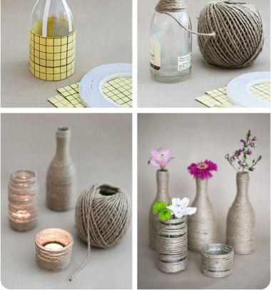 DIY Yarn wrapped glass bottle and mason jar - upcycling craft // Fonallal körbetekert üveg palack dekoráció - kreatív újrahasznosítás // Mindy - craft tutorial collection // #crafts #DIY #craftTutorial #tutorial