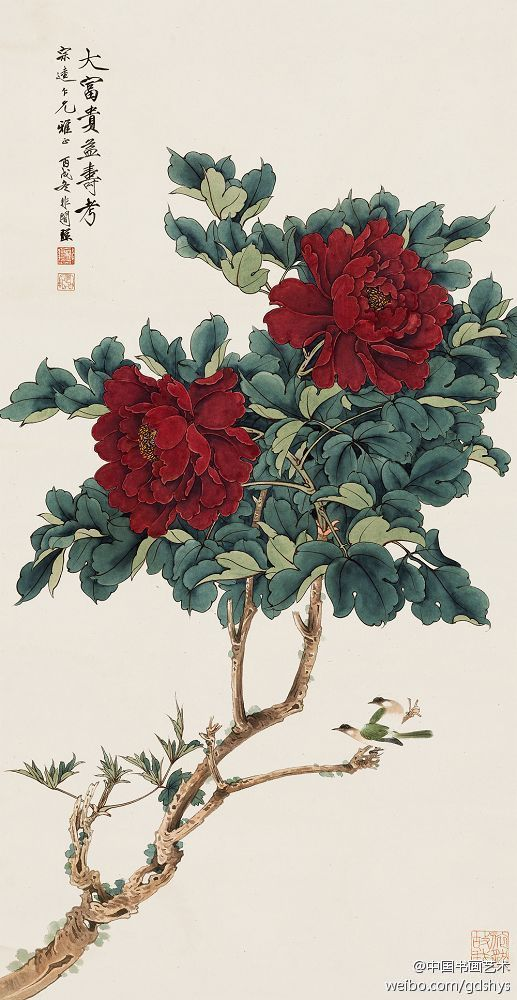 Chinese brush painting by Yu Fei An 于非闇 作品《大富贵益寿考》