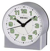 Seiko QHE084SLH Silver tone Metallic Analog Alarm Clock - Travel Alarm Clocks