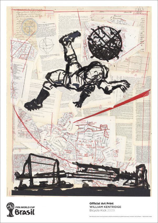 #WilliamKentridge | Bicycle Kick | FIFA World Cup Brazil 2014 http://www.printed-editions.com/artwork/william-kentridge-bicycle-kick-24432 #Football #Brazil #WorldCup