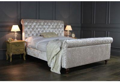 GB98-5 King Size Beige Crushed Velvet Upholstered Chesterfield Bed | Grosvenor Beds Ltd