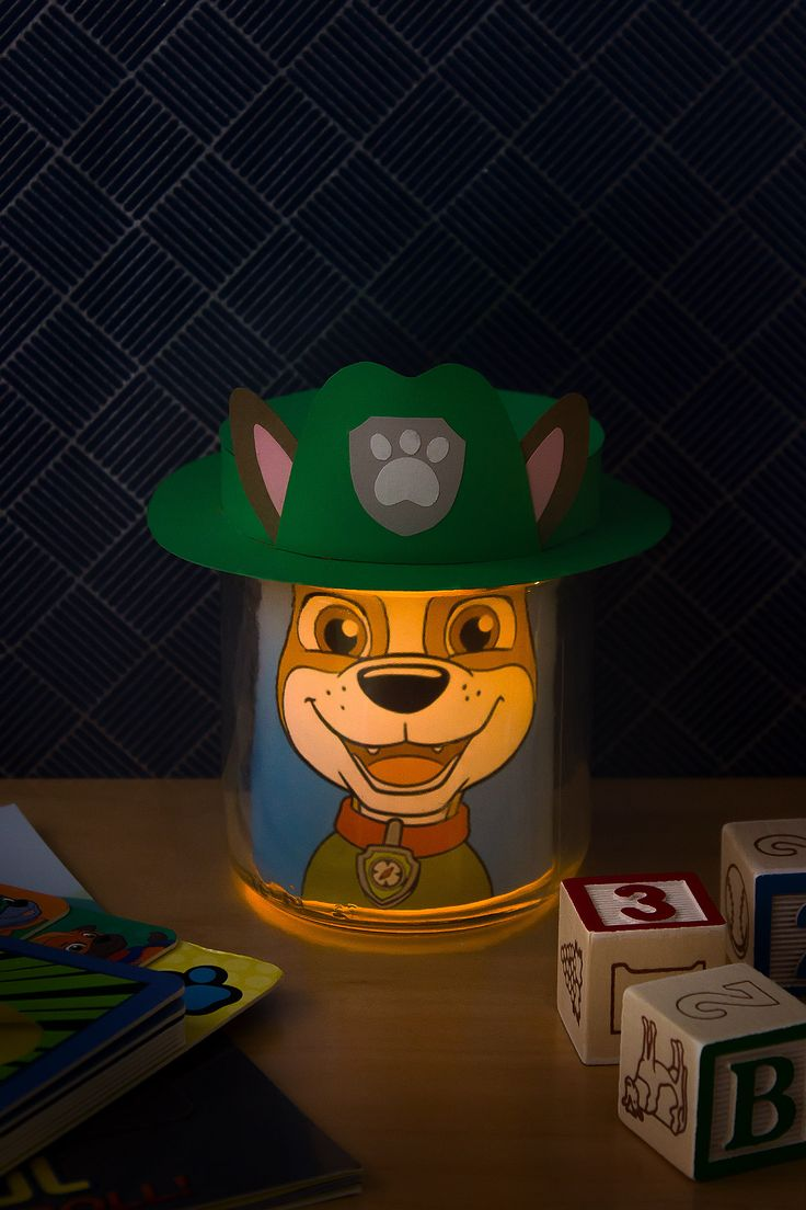 PAW Patrol Tracker Night Light - uses a salsa jar and electric tea light