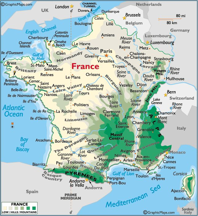 A nice map that shows the mountainous areas of France.