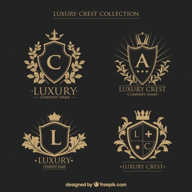 Colección de logos de escudos heráldicos con iniciales en estilo vintage Vector Gratis