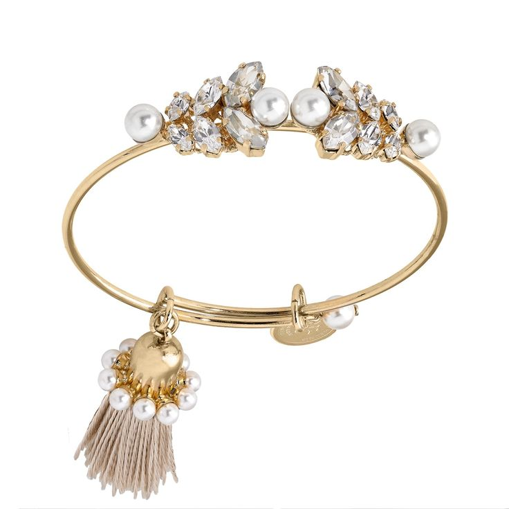 Thin bangle with crystals and tassel