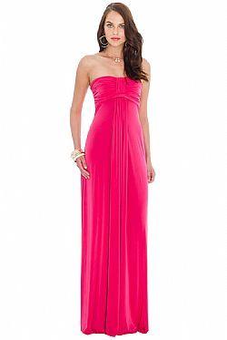 φούξια bandeau maxi φόρεμα
