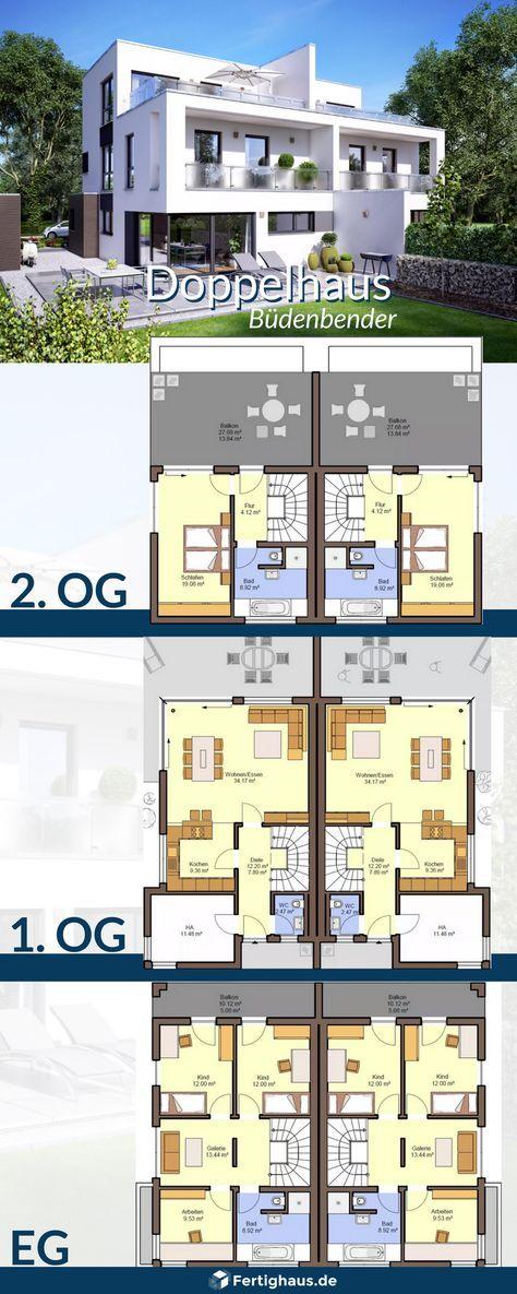"""Doppelhaus """"Gemello FD 280"""" mit 3 Etagen von Büde…"""