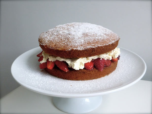 Traditional Victoria Sponge with fresh strawberries. To die for.