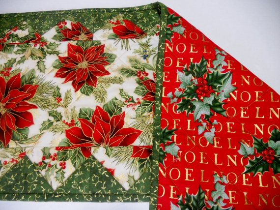 Elegant Christmas Quilted Table Runner by ForgetMeNotQuilteds