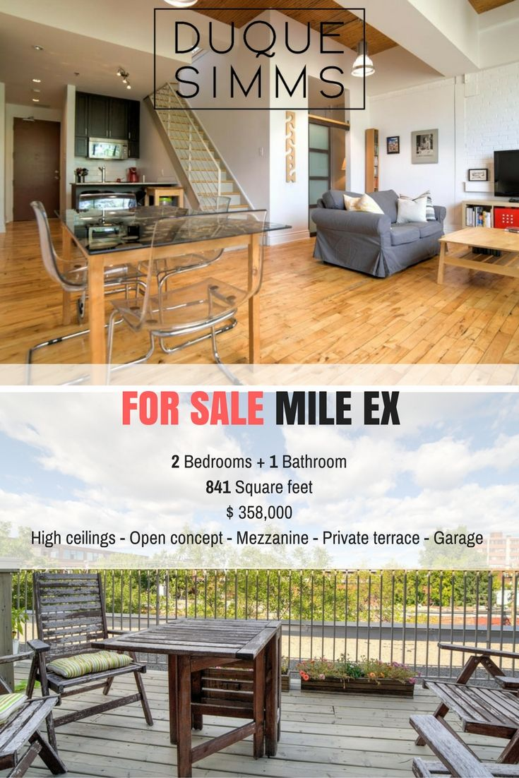2 bedroom condo on two floors in the Mile Ex with private terrace and lots of architectural character