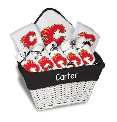 Our Personalized Calgary Flames Large Gift Basket is a perfect baby gift with 5 burp cloths 2 bibs and a towel personalized with the Flames logo.