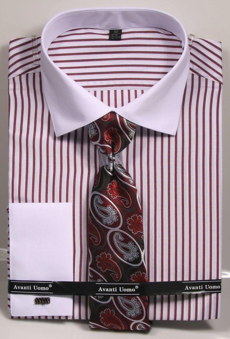 Avanti uomo french cuff dress shirt dns02 burgundy slim