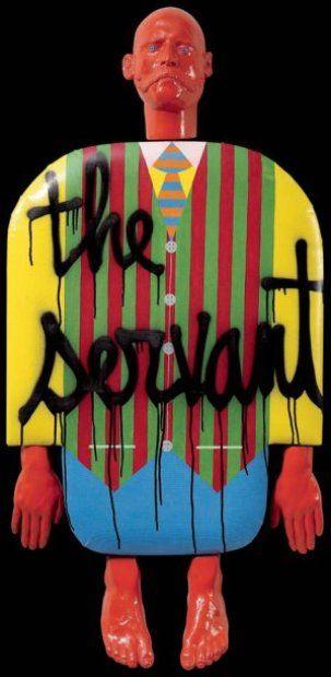 Personnage the servant n°36, 1976 Technique mixte et plâtre peint Signé, daté et titré au dos 140 x 70 cm