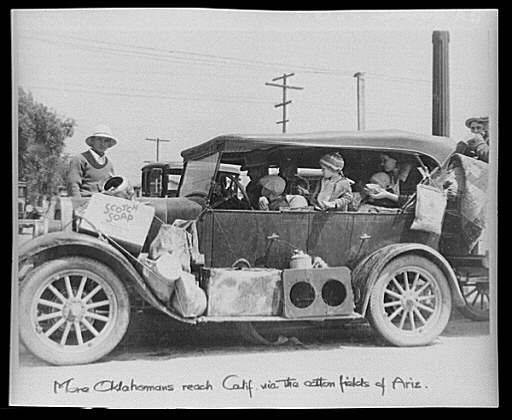 A Dust Bowl refugee family from Oklahoma reaching California, 1935