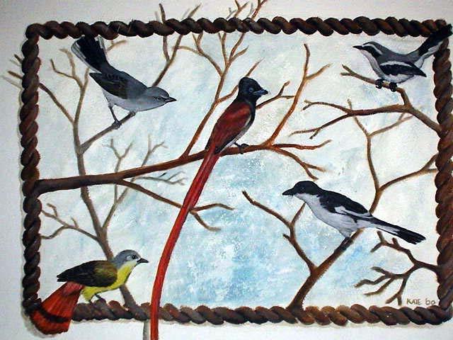 Birds on a wall - mural