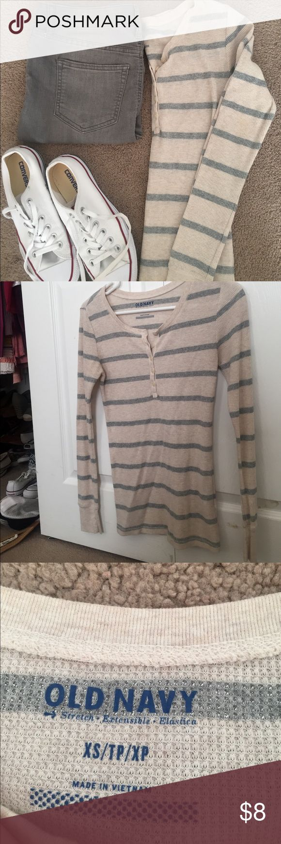 Waffle knit long sleeve Henley • Old Navy • Henley• xsmall • blush/nude and silver • only worn once • no flaws • Old Navy Tops Tees - Long Sleeve