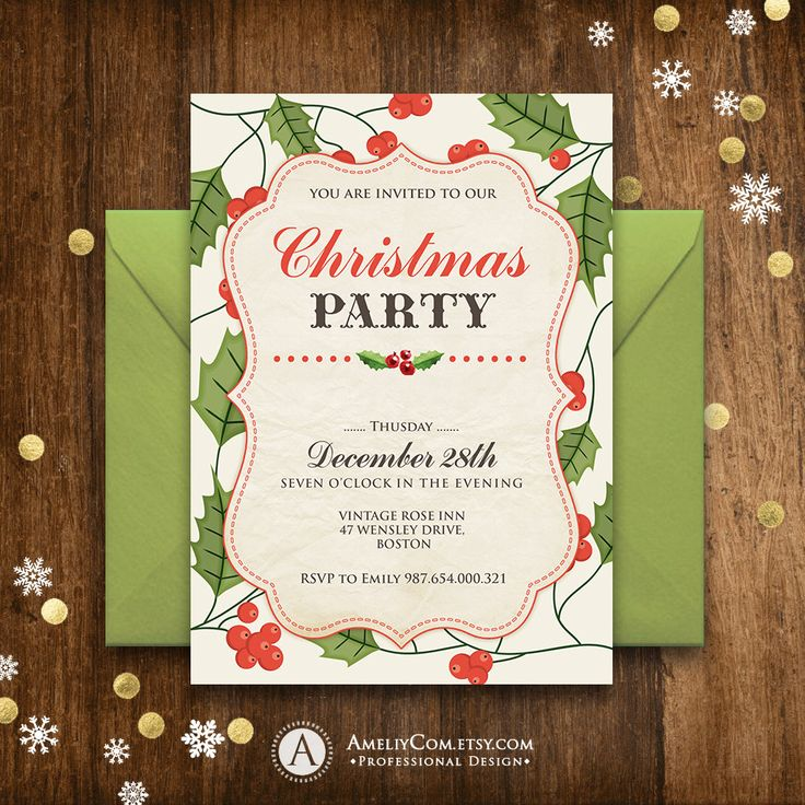 graduation party invitation templates for word%0A Christmas Invitation Printable Rustic Holly Christmas party Invitation  unique Vintage Green Red holiday party invitations template