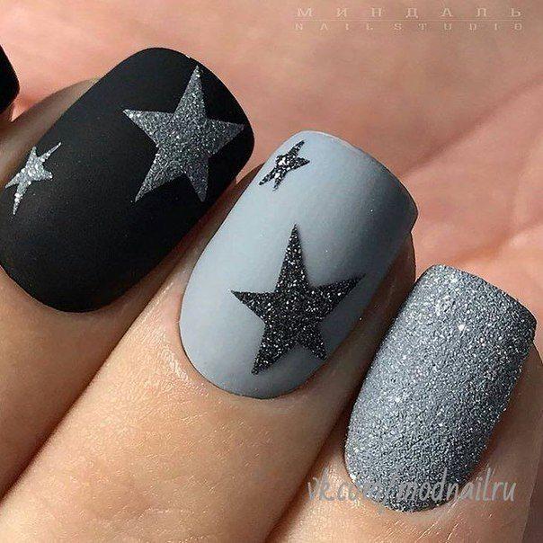 matte black star mani